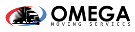 omega moving company logo with english text