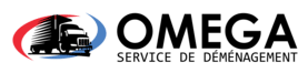 omega moving company logo with french text