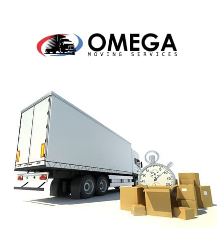 omega moving services truck with english text